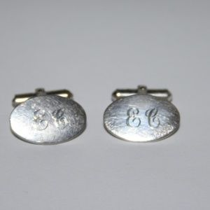 Vintage Men's Cuff links Silver E.C. Engraved